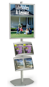 Dual Pocket Aluminum 22 X 28 Poster Literature Display Stand Snap Open Frame
