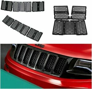 Front Grille Inserts Cover Kit 7 Pc For Jeep Grand Cherokee 2014 2016 black