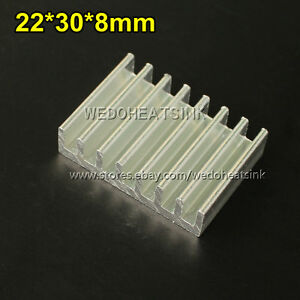 100pcs Long Rectangle 22 30 8mm Extrusion Profile Aluminum Heatsinks Radiator