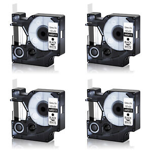 4pk Black On White Label Tape For Dymo D1 45013 1 2 X 23 S0720530 Labelmanager