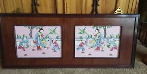 Vintage Chinese Hand Painted Porcelain Tiles In Frame Gorgeous