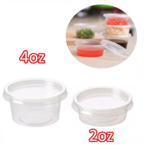 2oz 4oz Clear Plastic Containers Tubs With Separate Lids Food Safe Takeaway