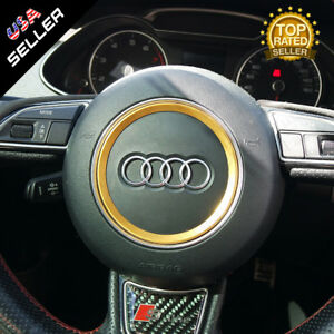 Audi Aluminum Steering Wheel Ring Logo Badge Sticker Emblem Decoration Gold