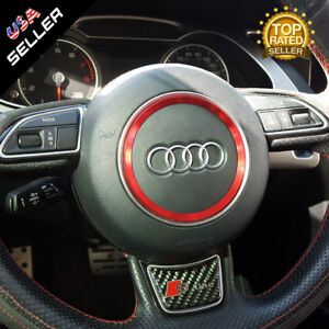 Audi Aluminum Steering Wheel Ring Logo Badge Sticker Emblem Decoration Red