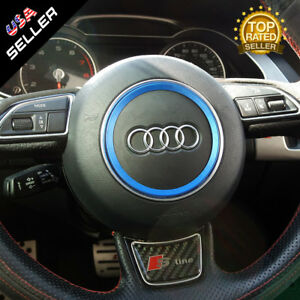 Audi Aluminum Steering Wheel Ring Logo Badge Sticker Emblem Decoration Blue