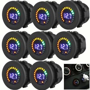 Lot Waterproof 12v Car Boat Marine Led Voltmeter Voltage Meter Battery Gauge Bt