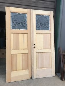 An 466 Pair Antique Double Door Entrance Stained Glass Stripped And 83 5 X 58 5