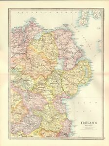 1890 Antique Map Ireland Section 2 North East Antrim Down Tyrone Cavan