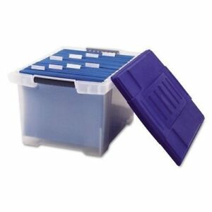 Storex Plastic File Tote Storage Box Letter legal Snap on Lid Clear blue