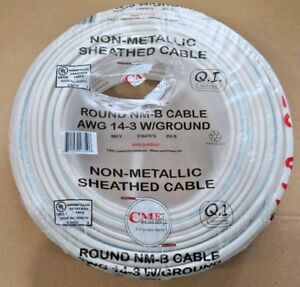 250 ft Roll 14 3 Awg Nm b Indoor Electrical Copper Wire Romex Cme Wire 14 3 New