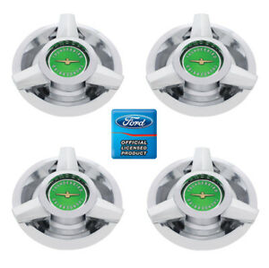 set 4 Wire Wheel Spinner Center Cap For 1962 1963 Ford Thunderbird Green Logo