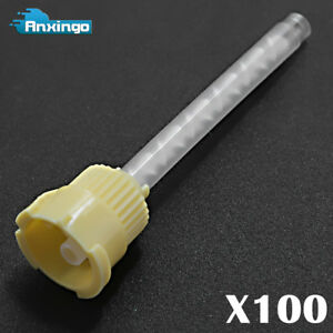 100pcs Yellow Dental Impression Mixing Tips 4 2mm High Performance