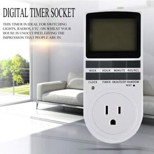 10x Us Lcd Programmable Digital Electronic Plug In Power Socket Timer Switch Hp