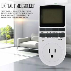 10x Us Lcd Programmable Digital Electronic Plug In Power Socket Timer Switch Us