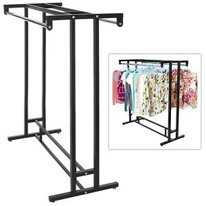 Clothing Rack Heavy Duty Commercial Store Retail Garment Metal Double Rail Rod