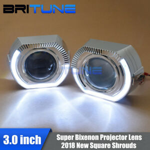 Square Led Angel Eyes Super 3 0 H1 Bi xenon Projector Lens Headlight Retrofit