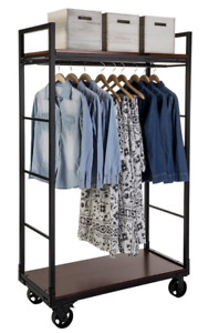 Dual Mahogany Shelf Industrial Rolling Clothing Armoire Rack With Hanging Rail