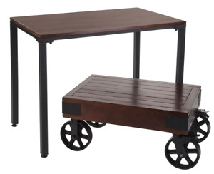 Set Of 2 Industrial Wooden Retail Clothing Nesting Tables 1 With Wagon Wheels