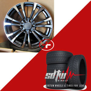 22 Nismo E40 Style Gunmetal Machined Rims W Tires Fits Nissan Armada Frontier