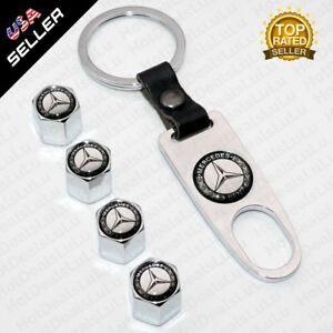 Chrome Car Wheel Tire Valve Dust Stems Air Caps Keychain With Mercedes Emblem