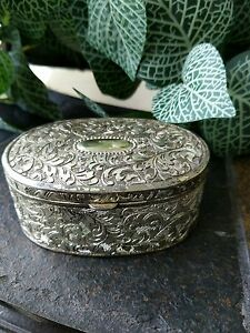 Vintage Silver Plated Ornate Oval Hinged Trinket Jewelry Box