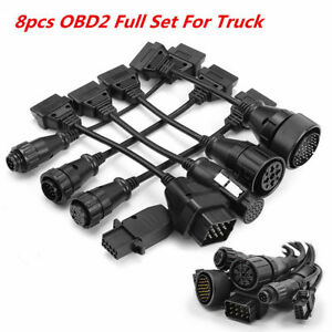 8 Pcs Obd2 Full Set Truck Wire Diagnose Cables For Autocom Delphi Tcs Cdp Rro