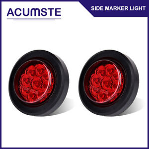 2x Round 2 Red 9led Mount Truck Trailer Clearance Side Marker Lights W Grommet