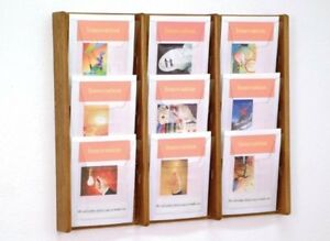 9 Pocket 3 Tier Wood Wall Mount Magazine Display W Acrylic Fronts Med Oak