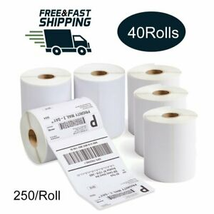 40 Rolls 4x6 250 roll Thermal Shipping Labels For Zebra Eltron Zp450 Lp2844 Us