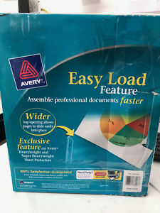 250 Avery Sheet Page Protectors Clear Heavy Duty 8 5 X 11 Easy Load Top Docs New