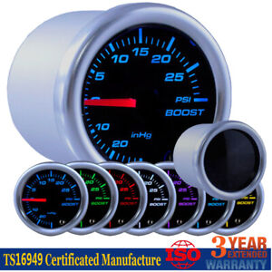 52mm Black Face Turbo Boost Vacuum Pressure Psi Gauge W 7 Colors