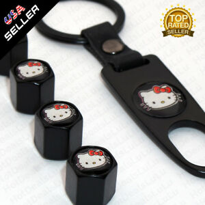 Black Car Wheels Tire Valve Dust Stems Air Caps Keychain With Hello Kitty Emblem