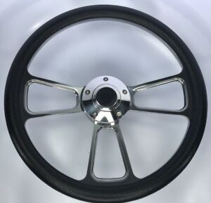 14 Polished Billet Steering Wheel black Half Wrap Horn Button