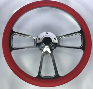 14 Polished Billet Steering Wheel Red Half Wrap And Polished Horn Button