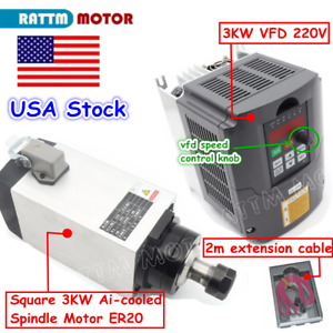 usa Cnc Router Square 3kw Air cooled Spindle Motor Er20 3kw Vfd 220v Inverter