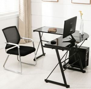 Premium L shape Corner Buisness Office Desk Black