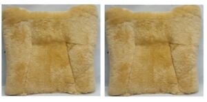 Seville Classics Genuine Sheepskin Short Wool Seat Cushion 2 Pack