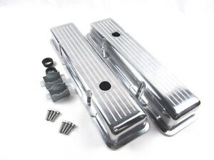 Small Block Chevy 350 Short Ball Milled Aluminum Valve Covers Polished Bpe 2002