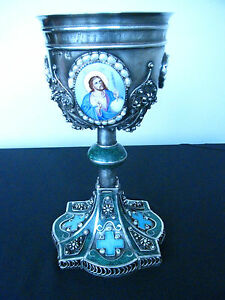 Imperial Russian Orthodox Silver Chalice Cup Filigree Enamel Pearls