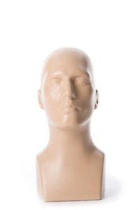 Free Standing Tabletop Male Mannequin Head Hat Scarf Display Fleshtone