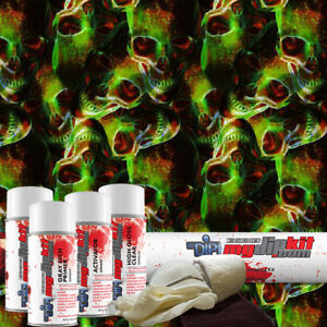 Hydro Dipping Water Transfer Printing Hydrographic Dip Kit Toxic Skulls Ll102