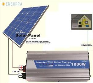 Ensupra 1000 Watt Solar Power 120v Ac powered By 100 watt Panel Simply