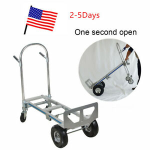 2 1 Aluminum Hand Truck Dolly Utility Cart Heavy Duty 770lbs Capacity Durable
