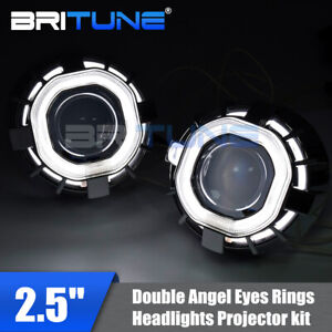 2 5 Square Dual Angel Eyes H1 Hid Bi Xenon Projector Lens For Auto Headlight