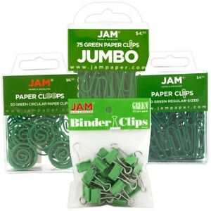 Jam Paper Office Clip Assortment Set Green 1 Binder Clips 1 Round Paper