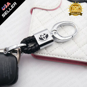 Black Calf Leather Alloy With T Emblem Keychain Ring Decoration Gift Accessories
