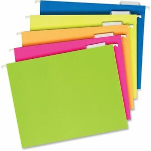 Pendaflex Glow Colors Hanging File Folders Fluorescent Assorted 25 Box