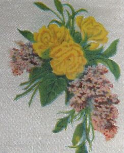 Vintage Tobacco Cigarette Silk Use In Crazy Quilt Flowers Carnations Lilacs