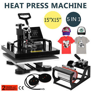 15 x15 5in1 Combo T shirt Heat Press Transfer Diy Printer Sublimation Clamshell