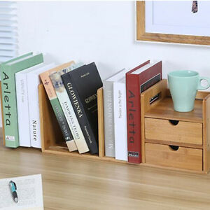 Bamboo Desktop Bookshelf Desk Organizer Extendable Storage With 2 Drawers Office